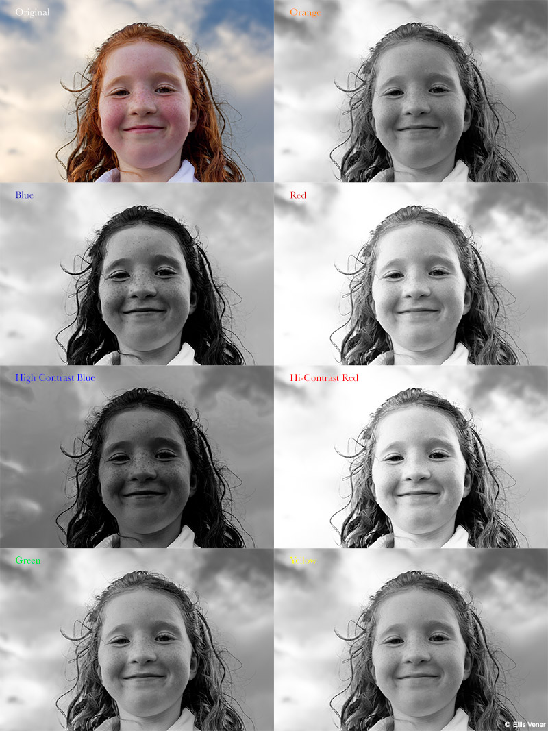 Default settings for black and white conversions using blue hi contrast blue green orange red hi contrast red and yellow contrast filters