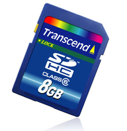 transcend announces 8GB SDHC Card