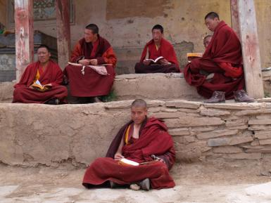 Tibetan Monks At Their Afternoon Study