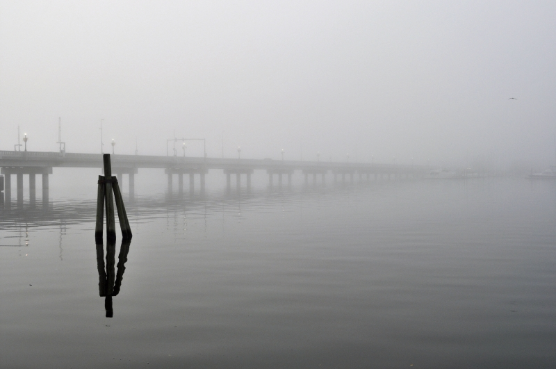 Alfred  Cunningham Bridge In The Fog