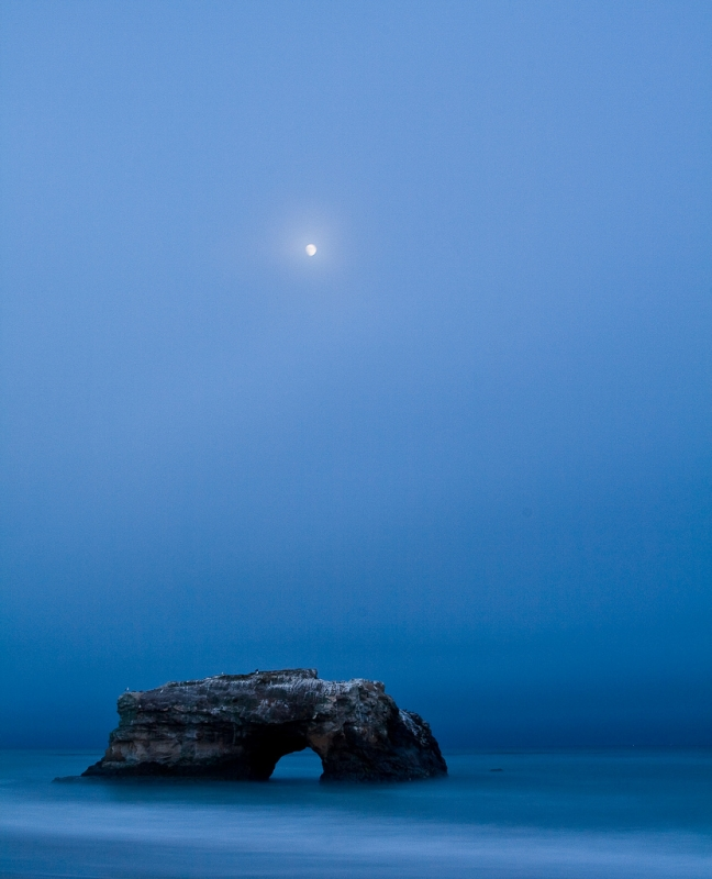 Blue Hour Moonrise Over Rock Arch, Natural Bridges State Beach