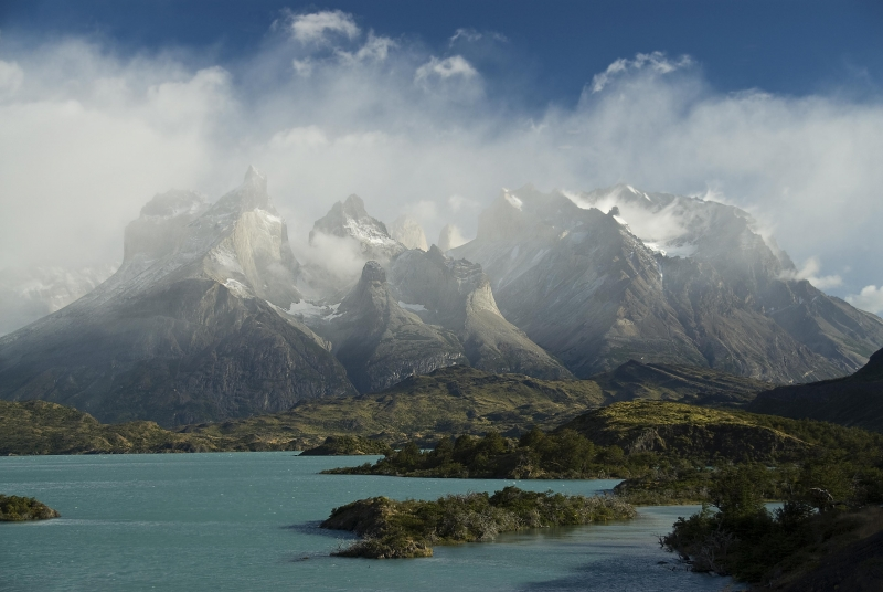 Blue Sky Fog Over Torres Del Paine