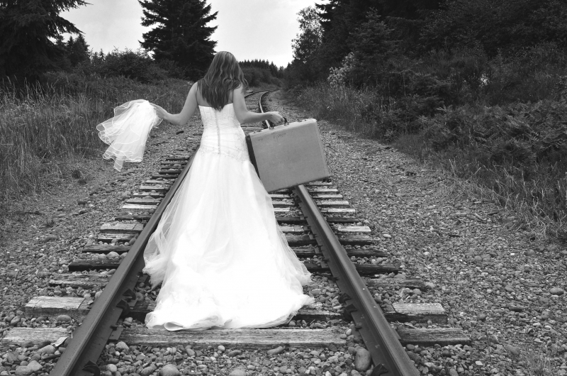 Bride Walking The Tracks