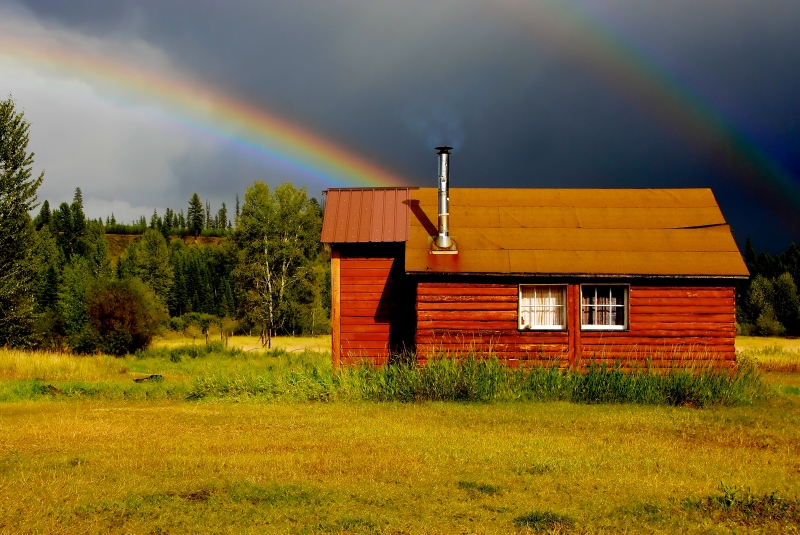 Cabin And Rainbow
