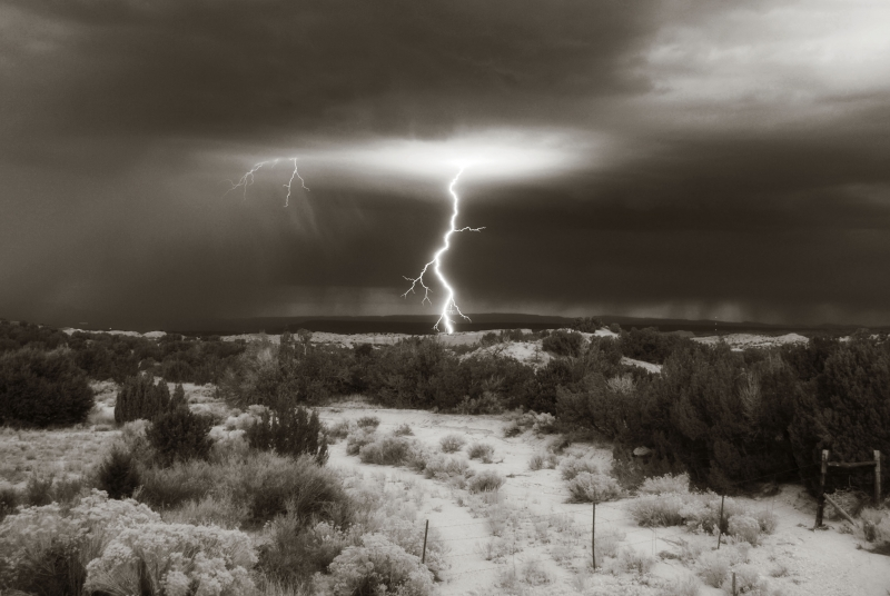 Chimayo Lightening At Dawn