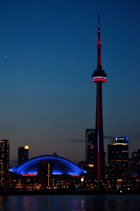 Cn Tower And Rogers Arena At Night