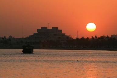 Dhow Boat Sailing Into The Sunset