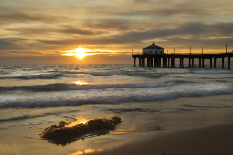 Golden Sunset At Manhattan Beach, Ca