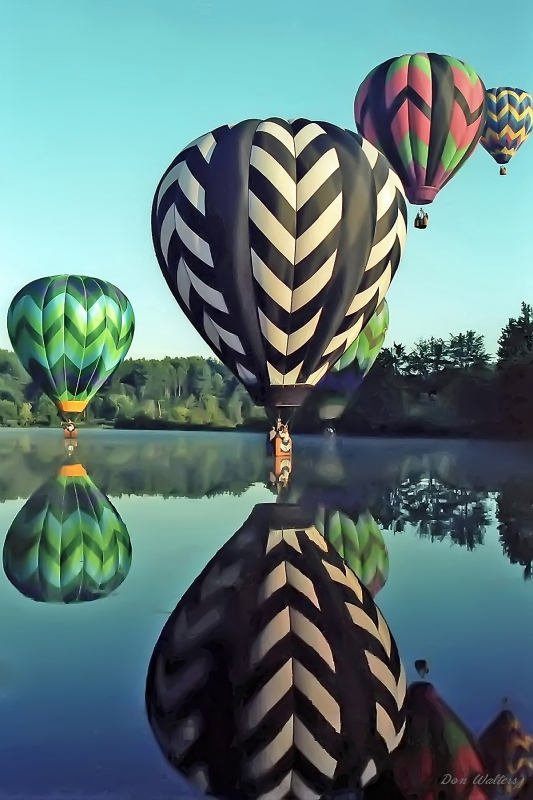 Hot Air Balloons Skimming Pond