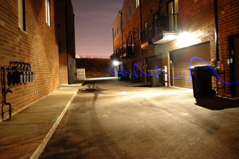Light Streaks In An Alley