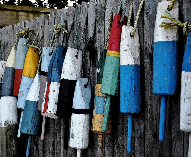 Lobster Corks On Fence (watercolor Effect)