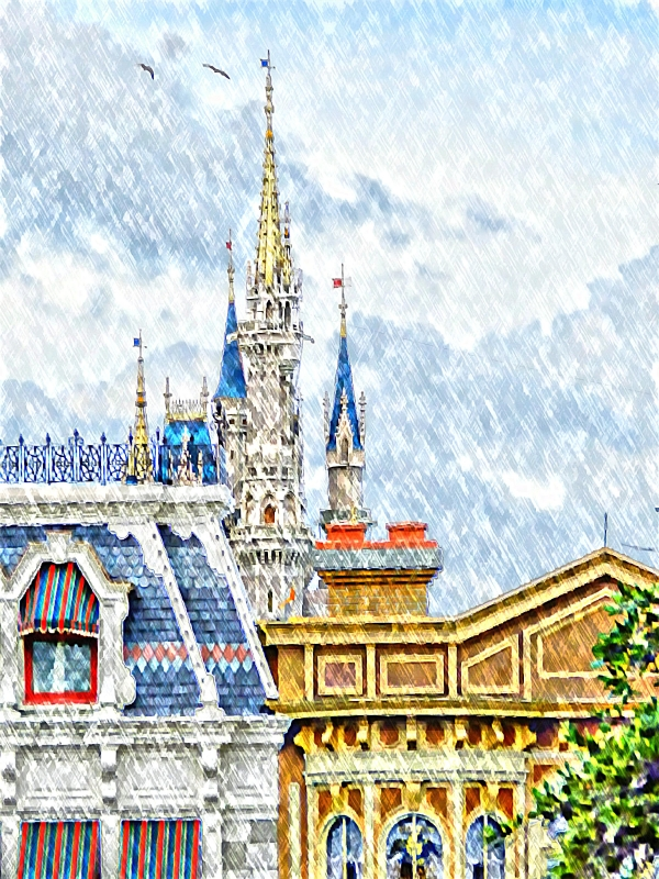 Magic Kingdom From Train Station Platforn