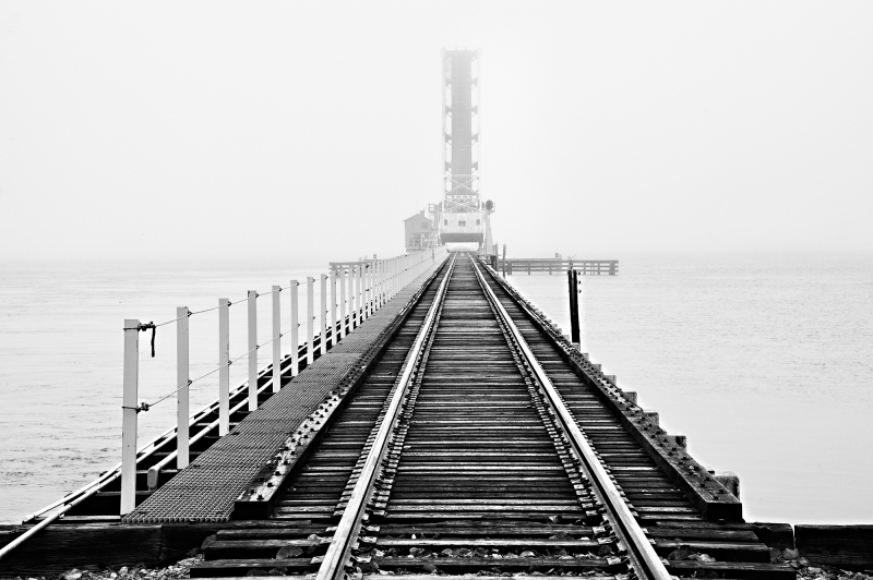 Manatee River Railroad Bridge In Fog