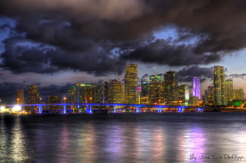 Miami Skyline In Hdr