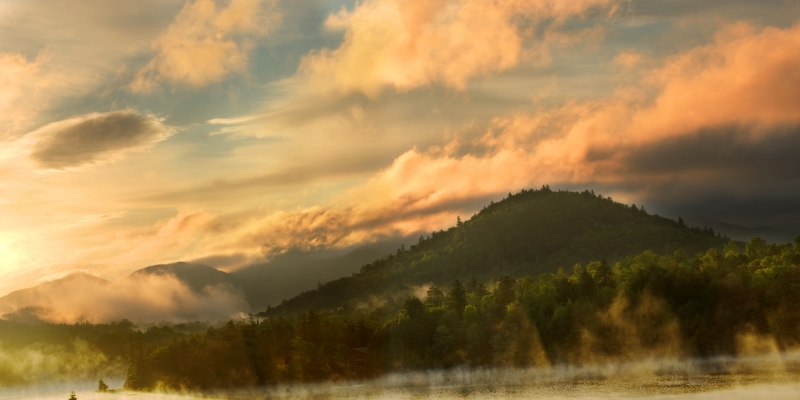 Misty Morning Over Lake Placid 2