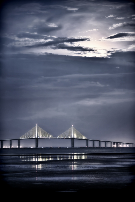 Moonrise Over Sunshine Skyway Bridge