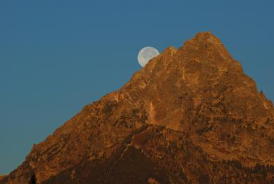 Moonset Over The Tetons