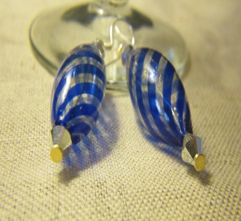 Murano Hand Made Blue And Silver Globes
