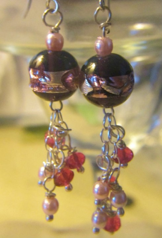 Murano Pink Foil With Swarovski Dangling Crystals.