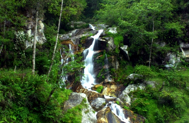 Natural Waterfall In Trongsa Valley In Bhutan