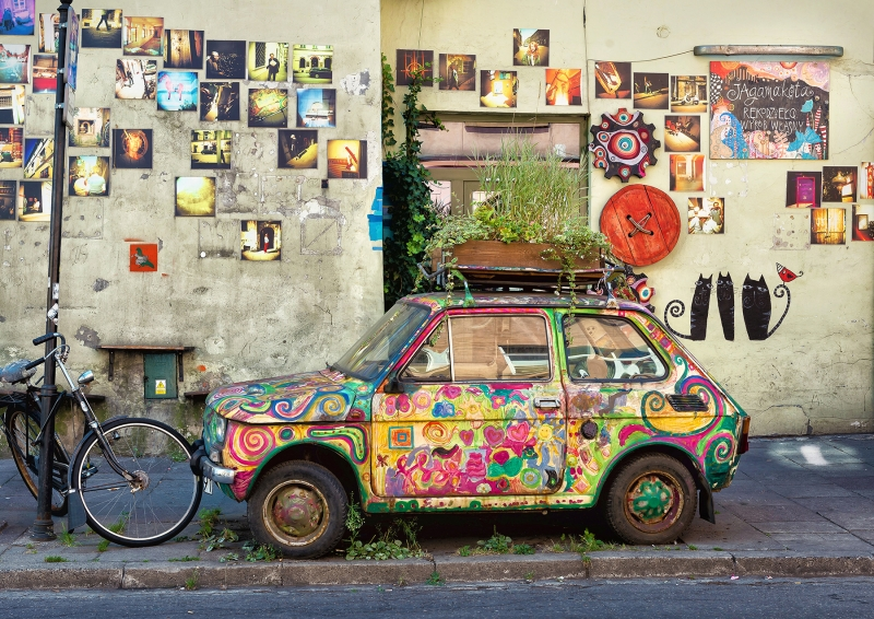 Old Fiat, Kazimierz District, Krakow, Poland