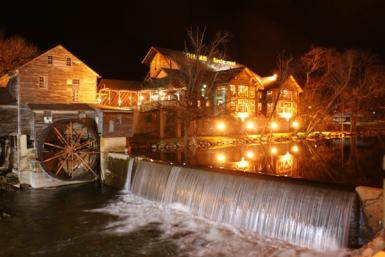 Old Mill Restaurant At Night