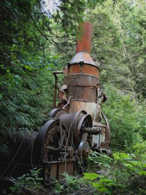 Old Steam Donkey Used To Skid Logs In The 1920's