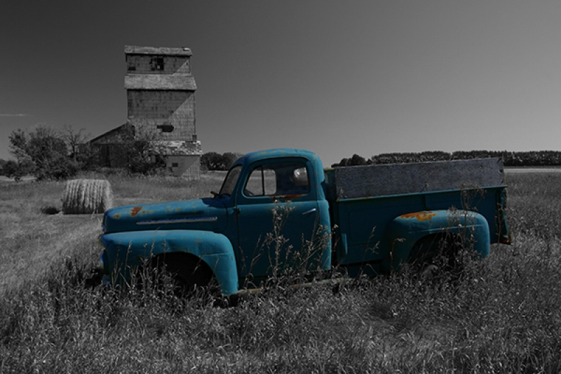 Old Truck And Grain Elevator