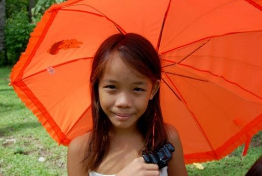Orange Umbrella Girl