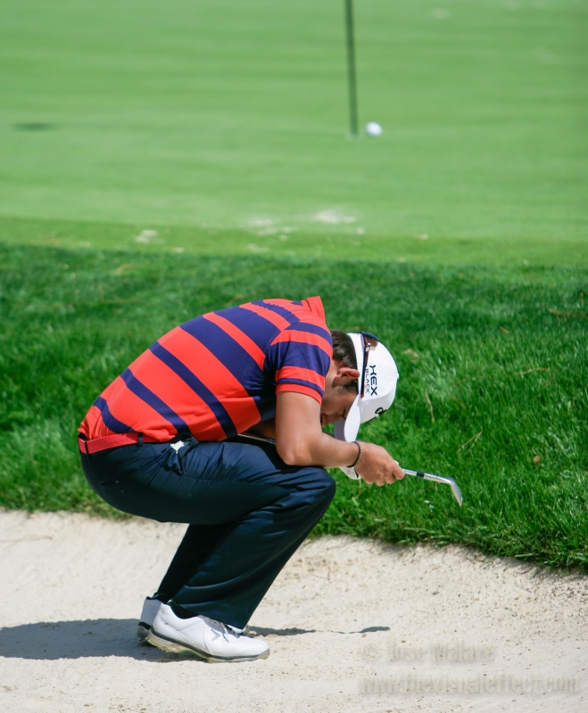 Pablo Larrazabal Misses The Cup On This Bunker Shot.