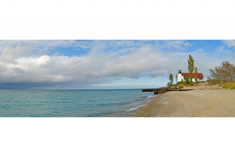 Panorama Of Point Betsie Lighthouse On Lake Michigan
