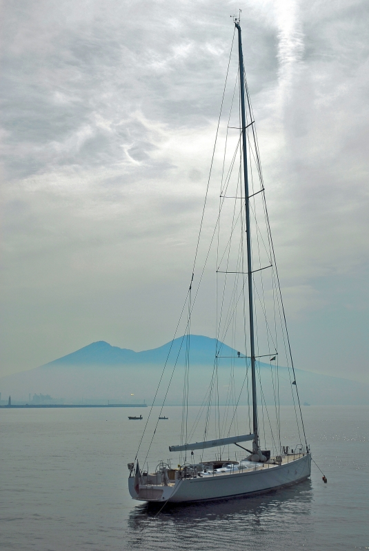 Sailing Boat And Vesuvius