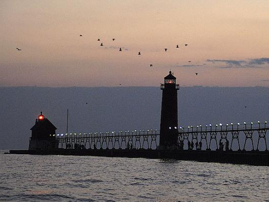 South Pier Light At Sundown
