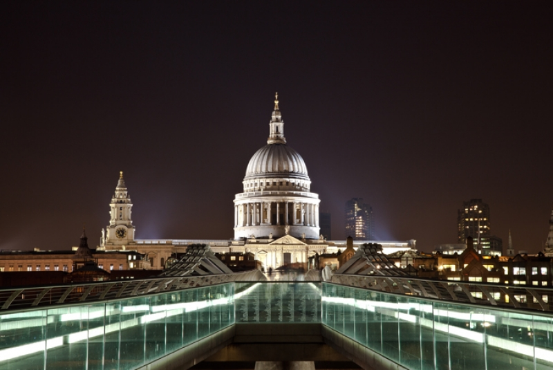 St Paul Cathedral Dome From Millenium Bridge