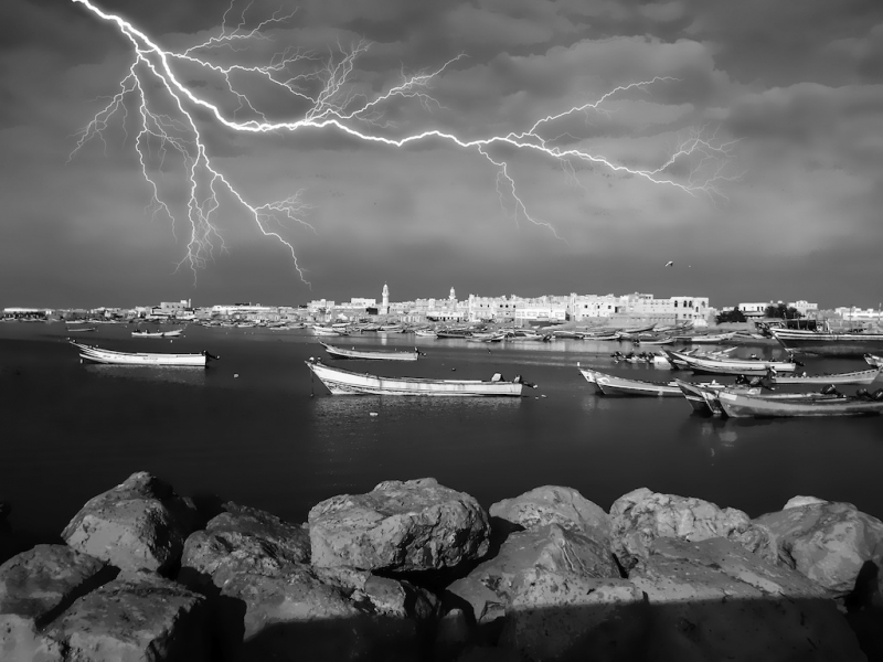 Storm Over Fishing Harbor. Asheher,s.yemen