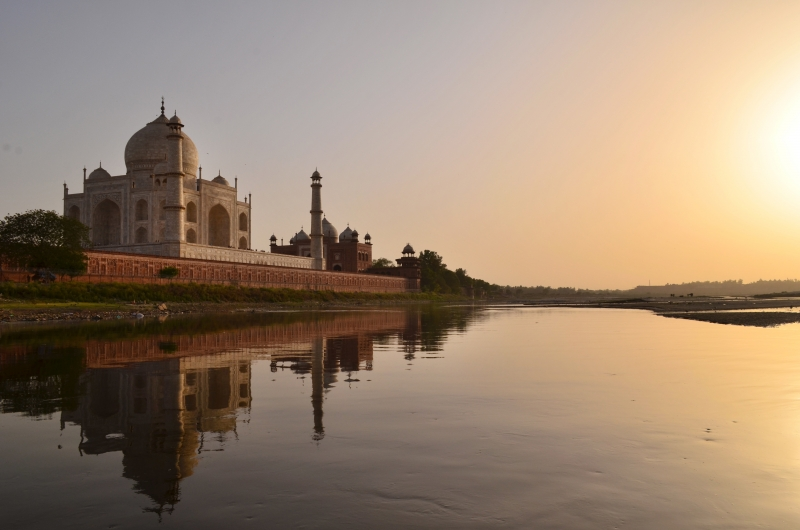 Sun Set At Tajmahal From Yamuna River