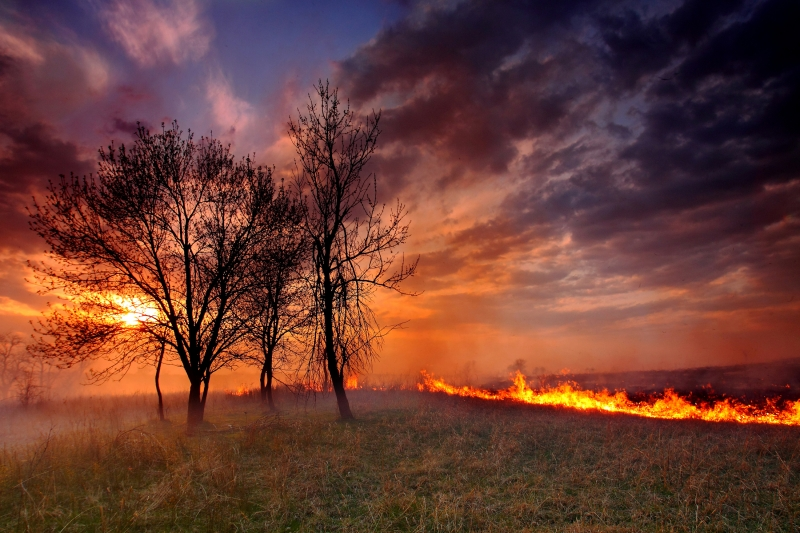 Sunset During The Annual Burning Of The Flint Hills Prairies