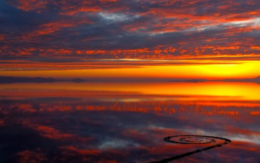 Sunset Reflections At Spiral Jetty