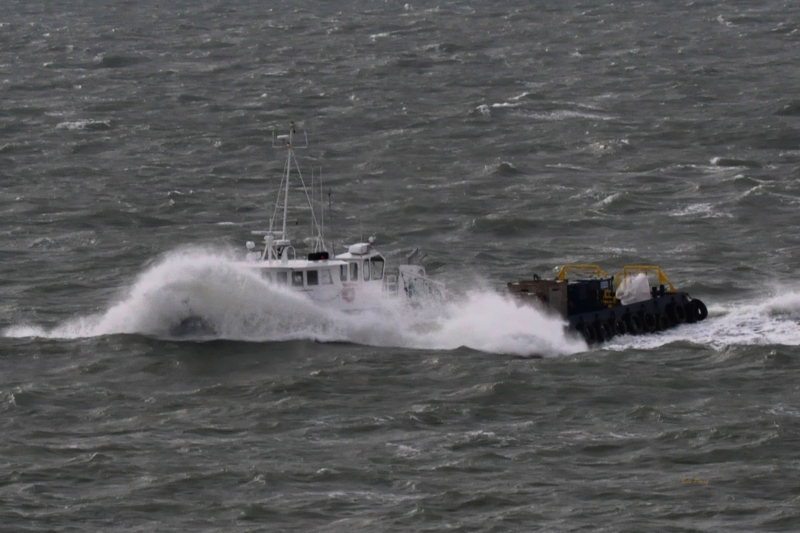Supply Boat In Rough Water Of The Gulf Of Mexico.