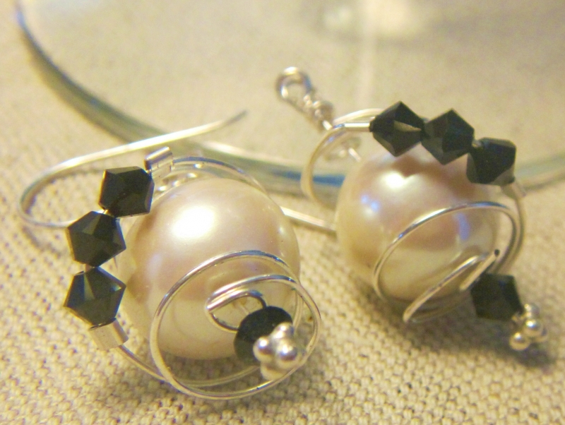 Swarovski Crystals Around Silver Cages With Silver Sterling Wires Ear Rings.