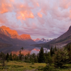 Sunrise At Goose Island St. Mary Lake