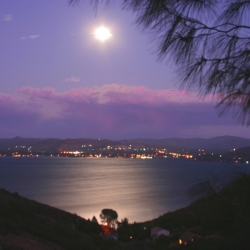 Moon Rising Over Clear Lake, Ca