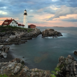 Portland Headlight At Sunset After Storm