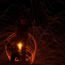Skater Lighted By Steel Wool