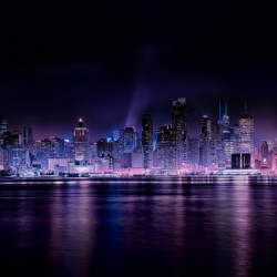 Panoramic Manhattan With Nightfall