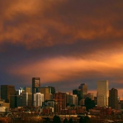 Downtown Denver Skyline At Sunset