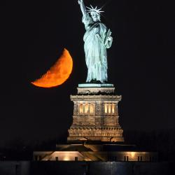 Statue of Liberty Moonset