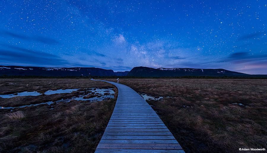Western Brook Pond Boardwalk. Sky Exposure: Star-stacked blend of ten exposures, each at 14mm, ISO 12800, ƒ/2.8, 10 seconds.  Foreground Exposure: Blend of two exposures, one at ISO 1600, ƒ/2.8, 2 minutes and the other at ISO 1600, ƒ/2.8, 3 minutes.  Nikon D810A, Nikkor 14-24mm ƒ/2.8