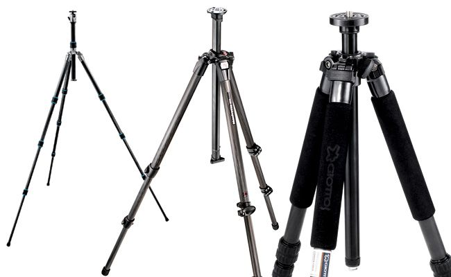 From left to right: Gitzo Ocean Traveler, Manfrotto 055CX3, Giottos MG8240B