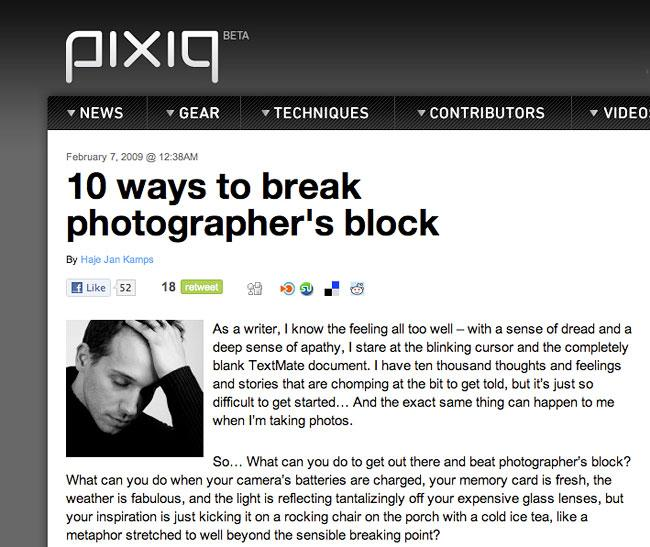 Ten Ways To Break Photographer's Block